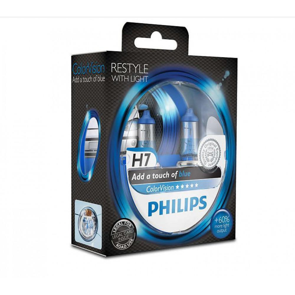 Лампа галогенная Philips H7 ColorVision Blue 3350K 2шт/блистер 12972CVPBS2